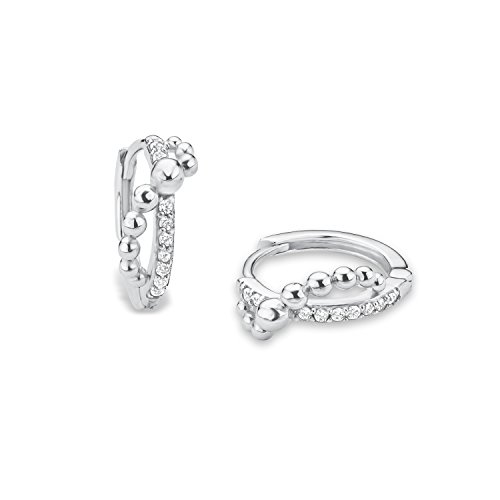 Price comparison product image s. Oliver Teens Girls Children's Creole Earrings 925 Silver Rhodium-Plated Zirconia White – 568012