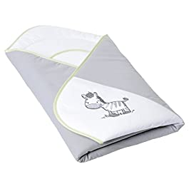 GoFuture Wickeldecke für Neugeborene und Babys Pucktuch – kuschelig warme Babydecke aus 100% Baumwolle für Jungen und Mädchen - Kuscheldecke Erstlingsdecke Babynest 78x78cm (Zebra in Grau mit Grün)