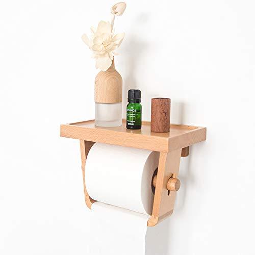 Qinwei Toilettenpapierhalter mit Lagerregal, Massivholz Bad Rollenhalter aus Holz Kreativ Tissue Box Hand Tray Toilettenpapierhalter für Badezimmer Wohnzimmer