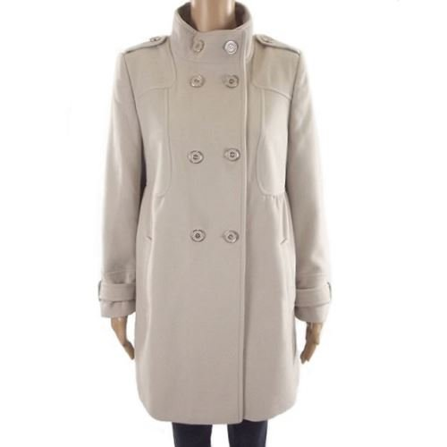 Ex Wallis Military Coat Damen Herbst Winter Jacke zweireihige Petite Gr. 40, Beige - Stone