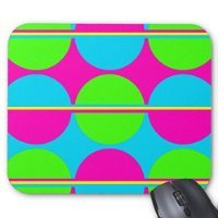 Lime Green Hot Pink Teal Circles Personality Rectangle Mouse Pad Gaming Mousepad Mat
