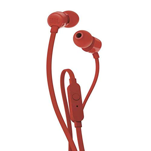 JBL T110 In Ear Headphones with Mic  Red