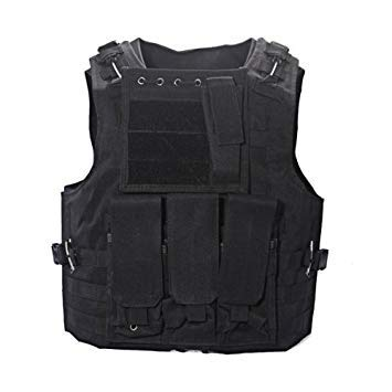 Dcolor Nylon Chaqueta Chaleco Negro MOLLE Tactical Paintball Airsoft Combate