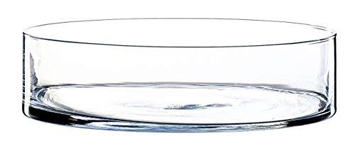 INNA-Glas Zylindrische Glasschale Vera, klar, 8cm, Ø 30cm - Obstschale - Pflanzschale
