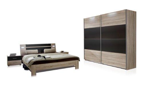 Wimex 751342 Schlafzimmer Set bestehend aus Schwebetürenschrank 225 x 210 x 65 cm, Bett 180 x 200 cm inklusive Beleuchtung und Nachtschrankpaar je...