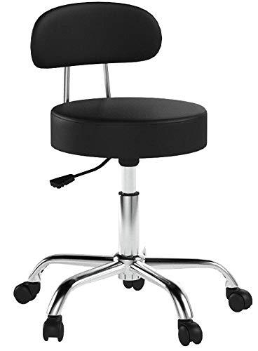 SixBros. Sitzhocker höhenverstellbar, Drehhocker mit Rollen, Hocker aus Kunstleder, verstellbar, Rückenlehne, schwarz