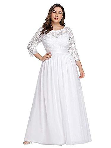 KT Mall Frauen Plus Size Abendkleid Spitze Chiffon mit Ärmeln Elegante Lange Ballkleid bodenlangen Empire-Taille A Line Ballkleid Prom,White,US20