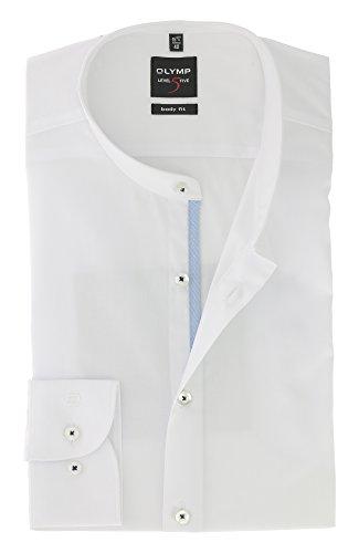 Preisvergleich Produktbild OLYMP Herren Langarm Business Hemd / Serie Level 5 Body Fit mit Stehbund Kragen / Comfort Stretch Uni Weiss Gr.45