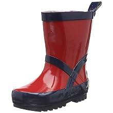Playshoes Unisex Kid's Wellies Rain Boot Classic Wellington Rubber, Red (Rot/Marine 643), 12.5 UK Child
