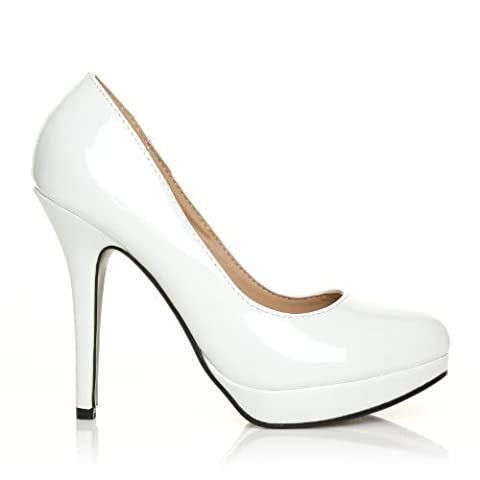 EVE White Patent PU Leather Stiletto High Heel Platform Court Shoes Size UK 4 EU 37