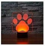 3D hund pfote Optische Illusions-Lampen, Tolle 7 Farbwechsel Acryl berühren Tabelle Schreibtisch-Nachtlicht mit USB-Kabel für Kinder Schlafzimmer Geburtstagsgeschenke Geschenk