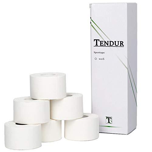 Tendur Sporttape - 6 Rollen á 3,8cm x 10m in Weiß - hochwertiger Zinkoxid Tape-verband aus 100% Baumwolle für Physiotherapeuten & Teambetreuer -