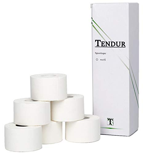 Tendur Sporttape - 6 Rollen á 3,8cm x 10m in Weiß - hochwertiger Zinkoxid Tape-verband aus 100{a350bd7fca994a7d4853265fc50d569a7572446d2ba0c29f2f258aab53628751} Baumwolle für Physiotherapeuten & Teambetreuer