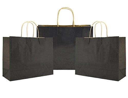 FiveSeasonStuff 24 Piezas Grande Negro Bolsas de Papel Kraft con mangos retorcidos reforzados para regalos de boda, duchas de bebés, proyectos de artes y artesanías, fiesta, regalos, colorear, cumpleaños, compras, al por menor, bolsas de fiesta (32 x 11 x 25cm / 12.6 x 4.3 x 9.8 inches)