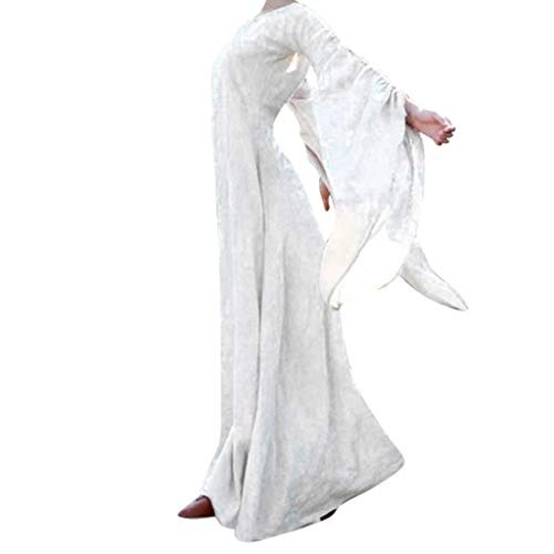 Cosplay Fantasy Gothic Kopfbügel Kostüm Retro Party Princess Renaissance Kleider Rock,Frauen Herbst Winter Mittelalter Gothic Retro Solide Langarm Ballkleider Maxi Kleid (Maxi Pad Kostüm)