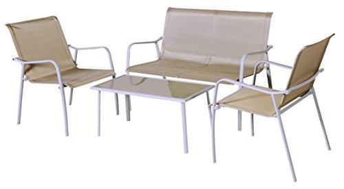 Salon de 4 pièces coloris Gris en résine tressé / aluminium -PEGANE-