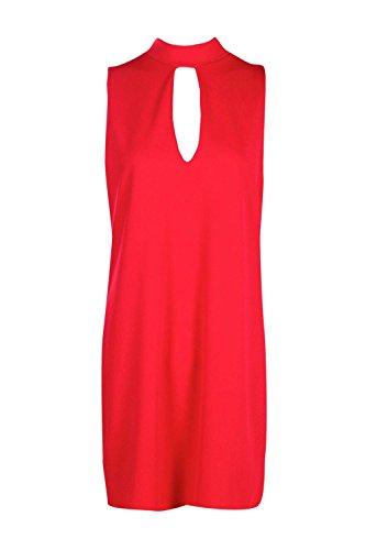 Rot Damen Sophia Choker Hals Plunge Shift Kleid Rot