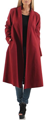 Malito Damen Mantel lang mit Wasserfall-Schnitt | Trenchcoat mit Gürtel | weicher Dufflecoat | Parka - Jacke 3050 (Bordeaux)