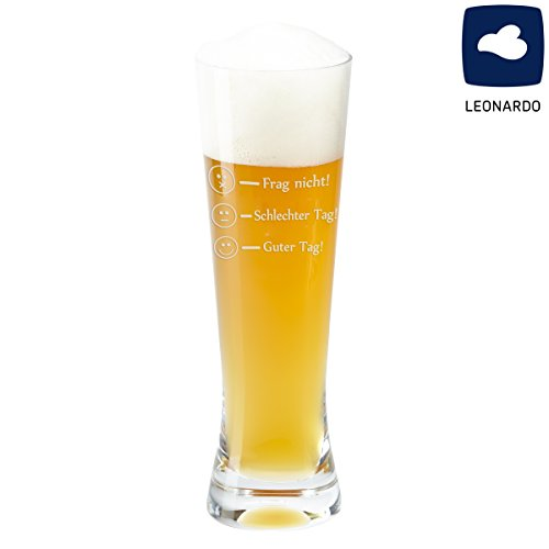 Glas – Frag nicht! (Weizenbierglas) – Glas von Leonardo als Bierkrug, Weizenbierglas oder Whiskyglas mit Befüllungs-Markierungen graviert – Markenglas mit Smiley Gravur je nach Stimmung