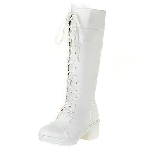Weiße Knie Hohe Stiefel - Artfaerie Damen High Heels Plateau Knie