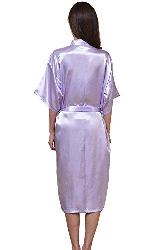 Kimono da donna Lungo in raso Dress da bagno in seta con scollo a V Abiti da sera Viola chiaro