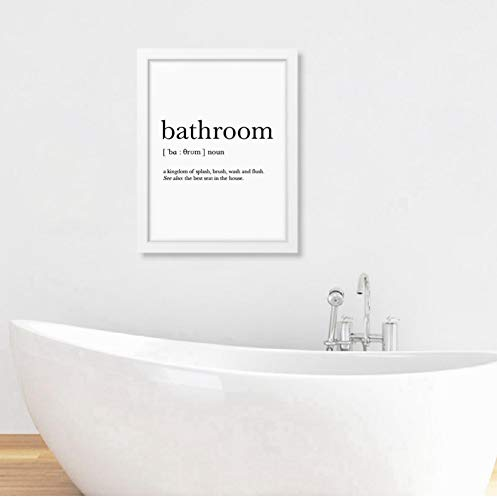 Bathroom Signs Wall Art Canvas Posters Prints Bathroom Definition Quote Painting Black White Wall Picture Home Decor 42x60cm