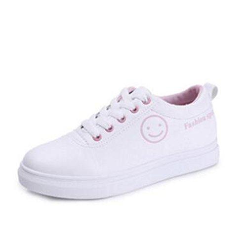 Version Coréenne De La Mode Cent Petites Chaussures Blanches, Chaussures Femme ,Chaussures De Loisir De Sourire Détudiant De Visage A
