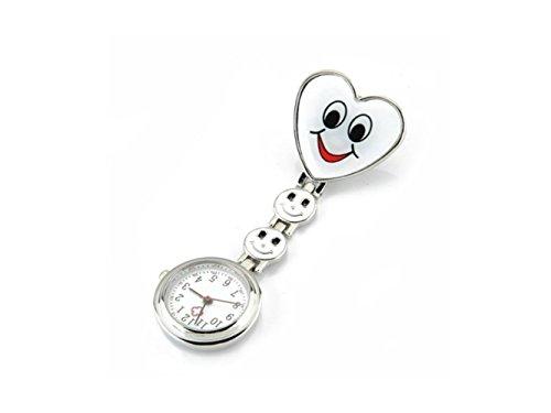 HOUHOUNNPO Fashionable Watch Clip en Alliage en Forme de Coeur Clip Infirmière Broche Fob Montre Smiley Visage (Blanc) par  HOUHOUNNPO