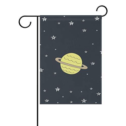 DEZIRO Gartenflagge Planeten im Weltraum, doppelseitig, Polyester, 1, 12x18(in)