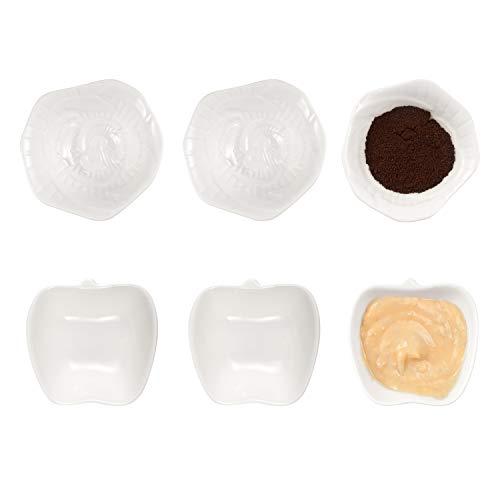 Apple-teller-set (AHUA 6er-Pack Porzellan Dessertschalen/Dipschüssel/Auflaufförmchen, Sojasauce Dishes- Dipbecher Gewürzschalen Dipschalen weiß Apfel & Blumenform Dipschalen Sets Flower & Apple)