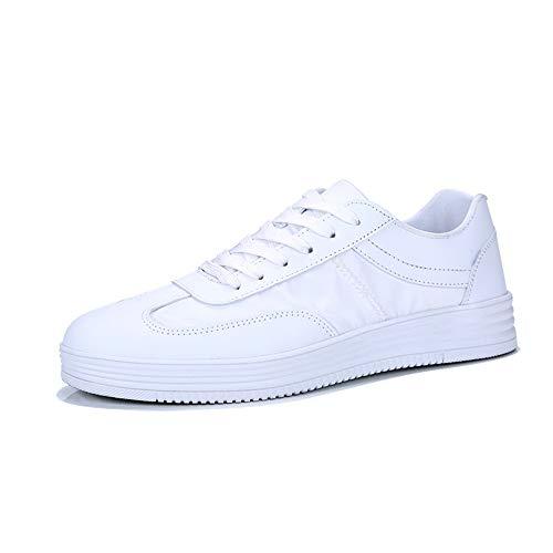 HILOTU Herrenmode Sneaker Casual Persönlichkeit Spleißen Jugend Trend Schnürschuhe Sportschuhe Trail Running Schuhe (Color : Weiß, Größe : 39 EU) -