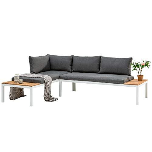 Invicta Interior Outdoor Sitzgruppe Orlando Lounge 170cm weiß grau Set Stahl wetterfest Gartensitzgruppe Loungemöbel Gartenmöbel Gartenliege