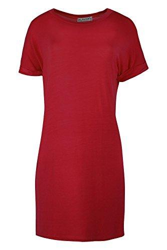 Damen Einfarbig Dehnbar Aufgerollter Ärmel Beutel Locker Passung Überdimensional T-shirt Top Kleider Übergröße - Wein, S/M (EU 36/38) (Slv Shirt Lange Top)
