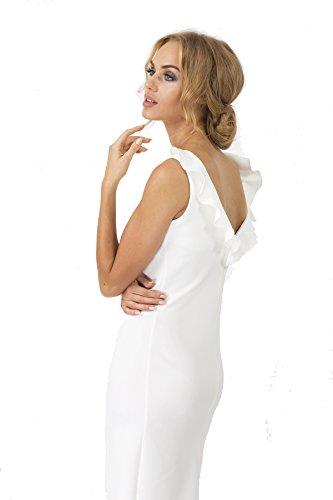 Kleid Elegant Cocktail Mini Kleid in 3 Farben Stylisch Gr. S M L 36 38 40, M167 Ecru