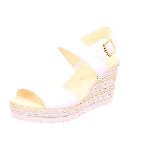 Gabor Fashion Damenschuhe 45.790.21 Damen Sandalette Sandale Leder (Glattleder) Weiß (weiss (Jute)), EU 37.5