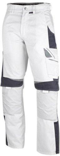 PKA BestWork Bundhose Arbeitshose (54, Weiß/Grau)