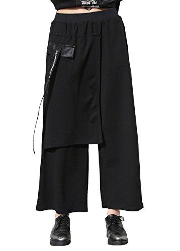 ELLAZHU Damen Fashion Einfarbig Patchwork Elastisch Asymmetrisch Weit Bein Hose GY1414