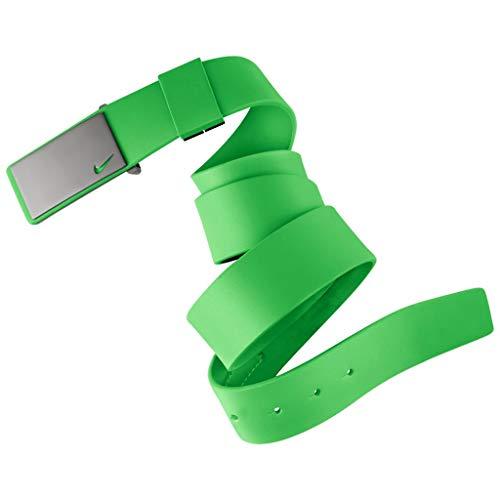 b54f23576874 2015 Nike Sleek Plaque Mens Golf Adjustable Leather Belt Light Green Spark