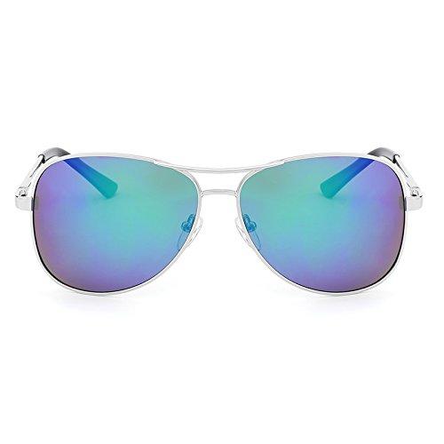 Ruanyi Pilot Polarisierte Sonnenbrille für Männer Kostüm Designer Klassische Schutz Metall Sonnenbrille Fahren Gläser UV400 (Color : Silver Green)