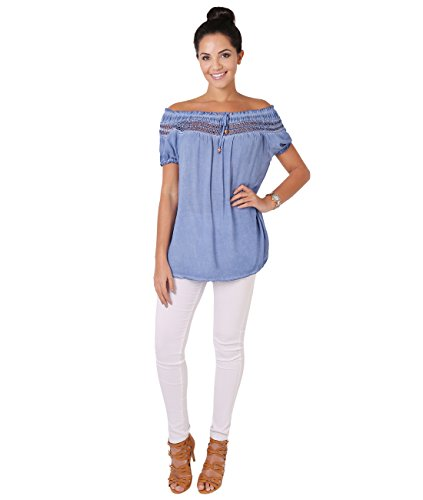 KRISP® Damen Leichte Kurzarm Bluse Lockeres Tunika Shirt Jeansblau 6888