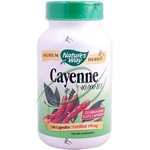 Pack of 1 x Nature's Way Cayenne 40000 HU - 450 mg - 180 Capsules from Nature's Way