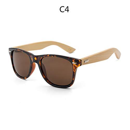 DAIYSNAFDN Retro Holz Sonnenbrille Männer Bambus Sonnenbrille Frauen Sportbrillen Gold Spiegel Sonnenbrille C4