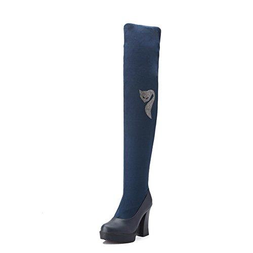 AgooLar Damen Rund Zehe Blend-Materialien Hoch-Spitze Stiefel Blau-Wasser Diamanten