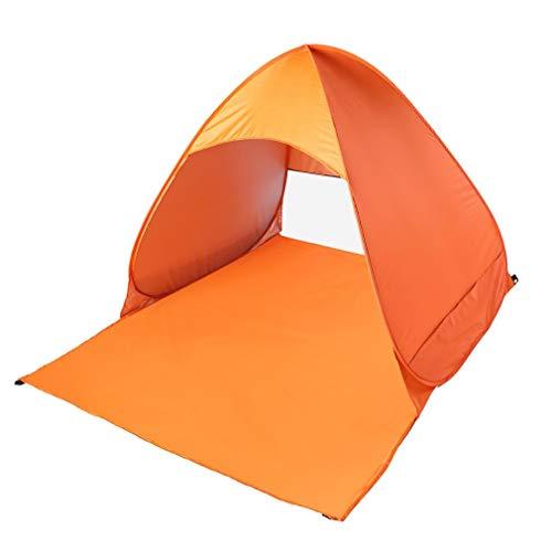 Poncherish Strandzelt, Pop-up,Outdoor Beach Tent Portable Wurfzelt,Leicht Automatik Strandmuschel mit Boden Sonnenschutz UV-Schutz, für Familien Aktivität, Outdoor, Strand(Orange)