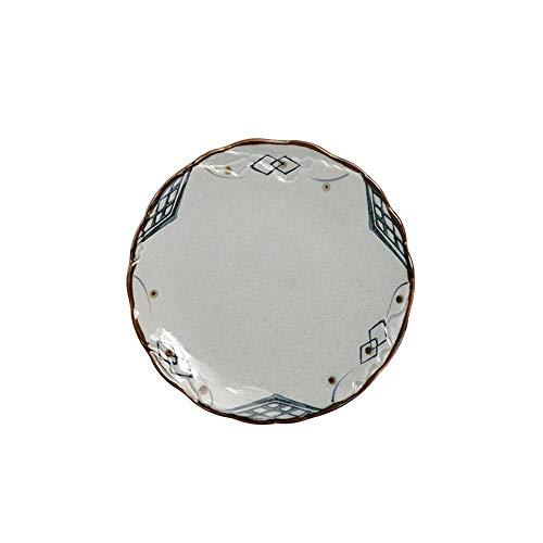 Handbemalte kreative Keramik Geschirr runde Holzplatte Western Food Klettenschale Hotel Home Dish Keramikscheibe 20x1,8cm