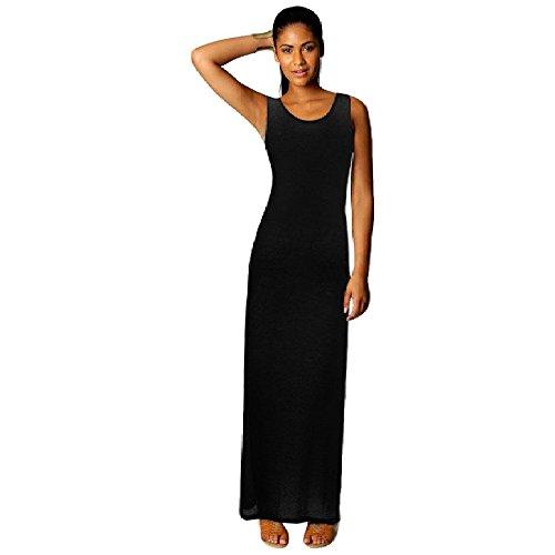 Culater® Femmes Casual Boho Longues Robes Longues Robe de Plage Noir
