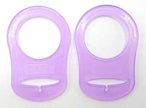 Silikonring (Adapter) für Schnuller - Schnullerhalter für Baby Schnullerketten aus weichem Silikon 100{f03de679380be5210400129a378f0d06bf488440eb33bd327f3ecc6110444e26} BPA-Frei - geruchslos - sterilisierbar - vaporisierbar - abkochbar (2er Lila)