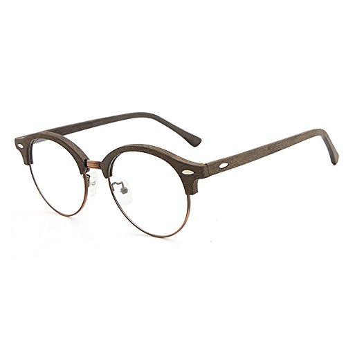 Herren Polarisierte Sonnenbrille Retro Holz Semi-Randlose Sonnenbrille für Frauen Männer Runde Klassische Unisex Sonnenbrille UV Schutz Sonnenbrille Fahren Sonnenbrille Strand Sonnenbrille UV400 Ret