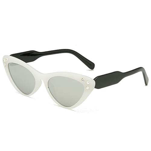 LABIUO Womens Sonnenbrillen Mode Katzenauge Diamant Sonnenbrille Polarisierte UV400 Strahlenschutz Schutzbrille Sonnenbrille(Weiß,Freie Größe)