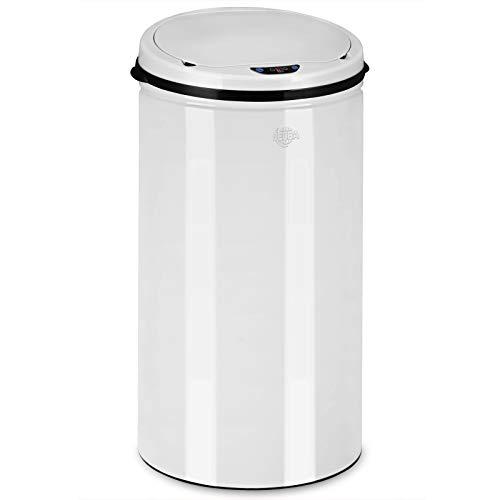Deuba Sensor Mülleimer 56 Liter Abfalleimer Küche mit LED Funktionsanzeige Automatik Abfallbehälter Edelstahl Papierkorb mit Bewegungssensor und Deckel weiß
